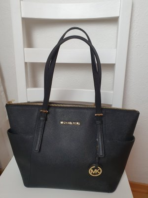 Michael Kors Damen Tasche schwarz gold Schultertasche Handtasche