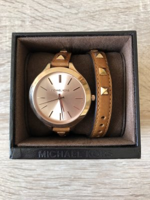 Michael Kors Watch With Leather Strap camel leather