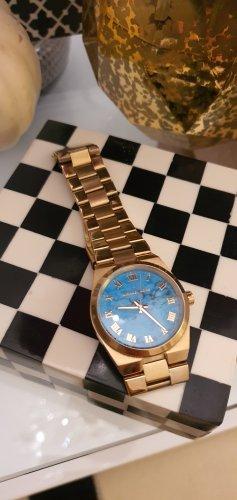 Michael Kors Reloj con pulsera metálica color oro-azul neón