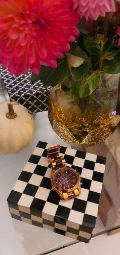 Michael Kors Reloj con pulsera metálica color rosa dorado-rojo oscuro