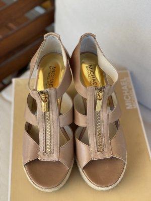 Michael Kors Damita Leather Wedge Khaki Size 6,5 US