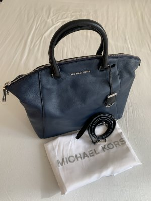 Michael Kors Sac bowling bleu foncé-noir cuir