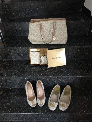 Michael Kors Ensemble Tasche und Schuhe beige gold