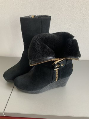 Michael Kors Wedge Booties black leather