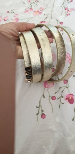 Michael Kors Cinturón doble color oro