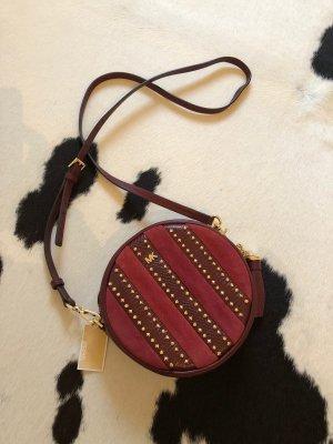 Michael Kors Handtasche Mode Blogger rot Gold crossbody leather rund