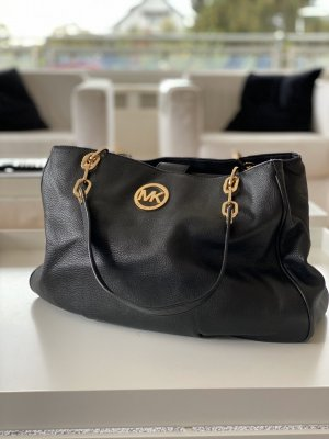 Michael Kors Shoulder Bag black-gold-colored leather
