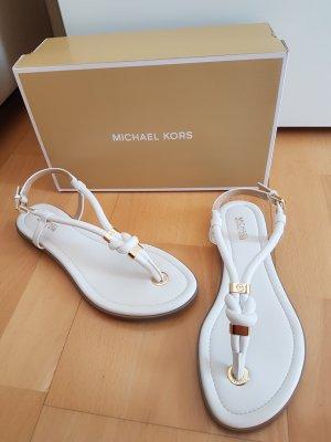 Michael Kors Sandalo toe-post bianco-oro Finta pelle