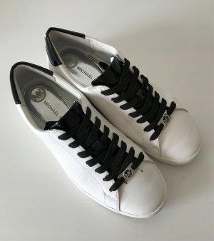 Michael Kors Irving Lace up Sneaker 38 Black White Leder Halbschuh Turnschuh