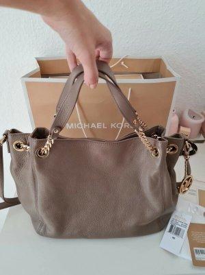 Michael Kors Jet Set Chain Tote Shoulder Bag leather MD dark dune MK taupe Leder Tasche mit OVP