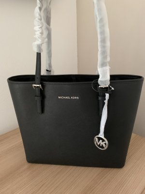 Michael Kors Jet Set Tasche schwarz Silber Leder Shopper Neu Travel