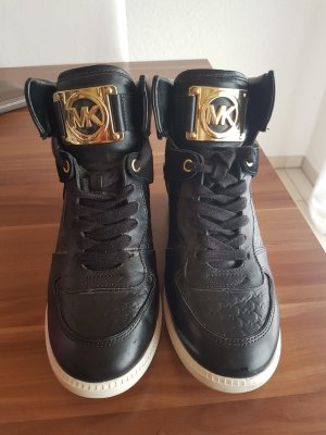 Michael Kors Wedge Sneaker black-gold-colored leather