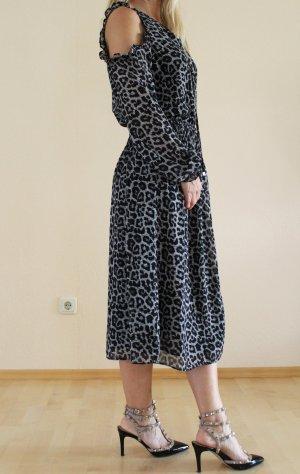 Michael Kors Kleid Midi Leo-Print schwarz grau Gr. S neu