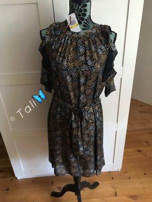 Michael Kors Kleid Off Shoulder  Schwarz Gold Silber  M 38 8