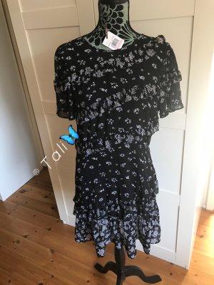 Michael Kors Kleid Rüschen  Schwarz Weiss Floral  M 38 10