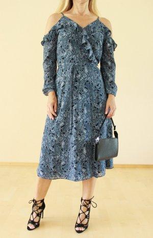 Michael Kors Kleid Volants Midi Paisley blau Gr. XS neu