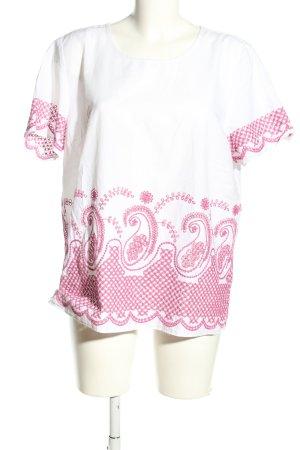 Michael Kors Kurzarm-Bluse weiß-pink Motivdruck Casual-Look