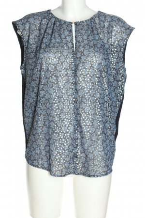 Michael Kors Kurzarm-Bluse blau-weiß Allover-Druck Business-Look
