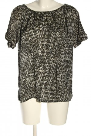 Michael Kors Kurzarm-Bluse schwarz-creme abstraktes Muster Casual-Look