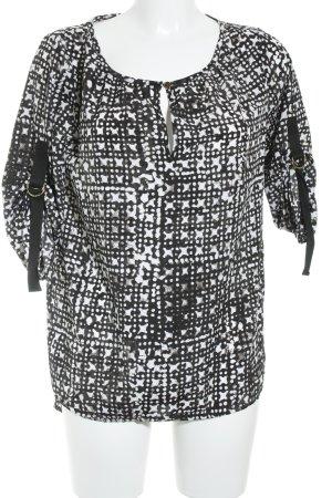Michael Kors Kurzarm-Bluse weiß-schwarz grafisches Muster Business-Look