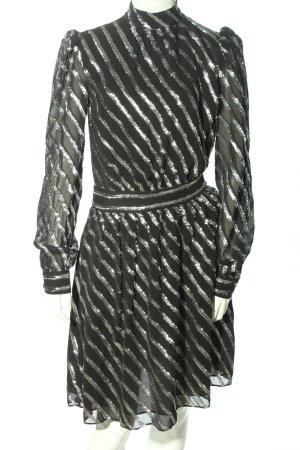 Michael Kors Langarmkleid schwarz-silberfarben Streifenmuster Elegant