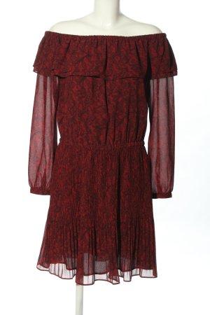 Michael Kors Langarmkleid rot-schwarz abstraktes Muster Casual-Look