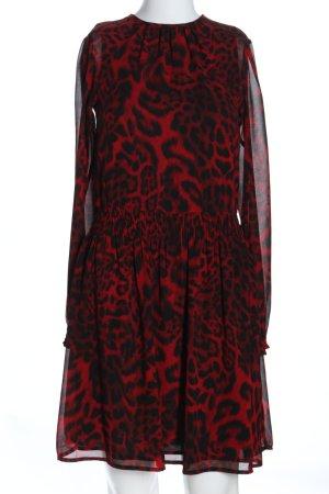 Michael Kors Robe à manches longues rouge-noir imprimé allover élégant