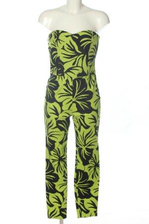 Michael Kors Langer Jumpsuit grün-schwarz Allover-Druck Elegant