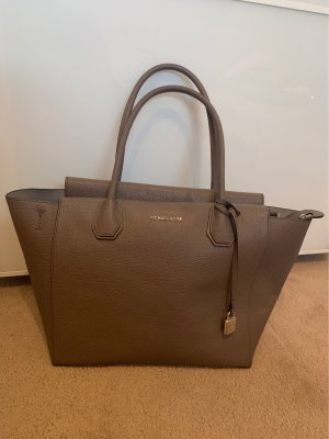 Michael Kors Mercer Large Leather Satchel Cinder taupe