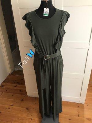 Michael Kors Midi Jumpsuit Overall  Olive Khaki Ivy Gold  M 38 8