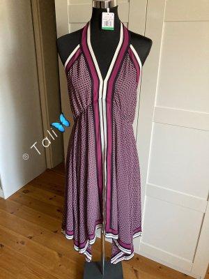Michael Kors Midi Neckholder Kleid  Lila Pink Weiss  L 40 10
