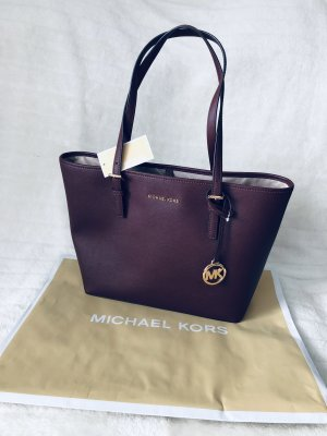 Michael Kors MK *Jet Set Travel MD Carryall Tote* Tasche Tragetasche Shopper weinrot lila Leder