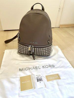 Michael Kors MK Rhea Zip Stud Rucksack medium cinder Grau neuwertig Backpack Leder