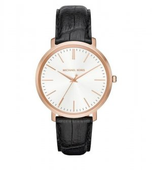 Michael Kors Watch With Leather Strap black