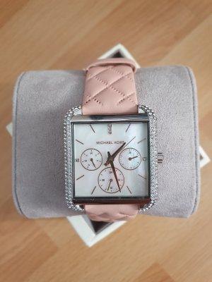 Michael Kors MK2768 Damenuhr Neu Armbanduhr rosa silber Leder chronograph zirkon