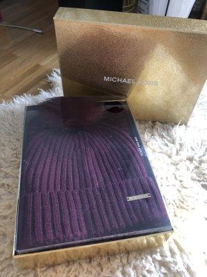 MICHAEL KORS Mütze + Schal Set Cranberry Geschenkbox NEU OVP