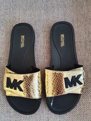 Michael Kors Palmer Slide gr. 38 Schwarz gold Schuhe pantoletten schlappen latschen