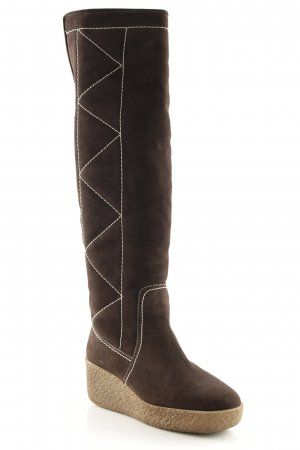 Michael Kors Platform Boots brown-white quilting pattern casual look
