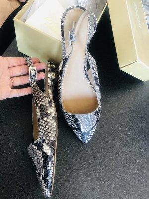Michael Kors pointy toe flats Snakeskin Mules Schlangenoptik spitz fersenlos grau schwarz weiß