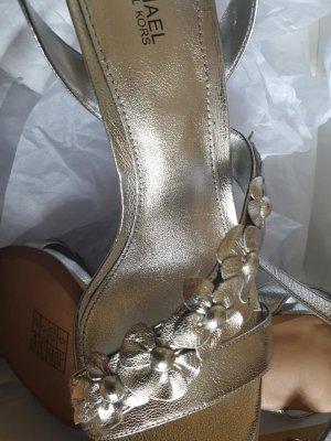Michael Kors Pumps Schuhe Sommer Damen Leder Sandaletten in Silber Gr. 38