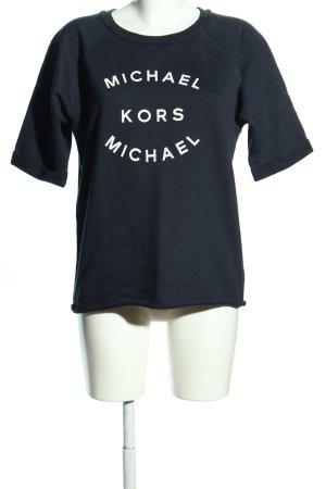 Michael Kors Rundhalspullover schwarz-weiß Schriftzug gedruckt Casual-Look