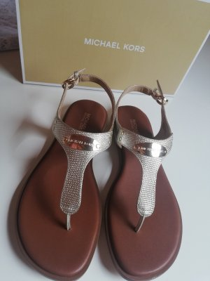 Michael Kors High-Heeled Toe-Post Sandals gold-colored-brown leather
