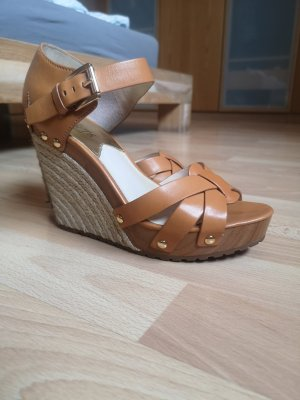Michael Kors Wedge Sandals brown-cognac-coloured leather