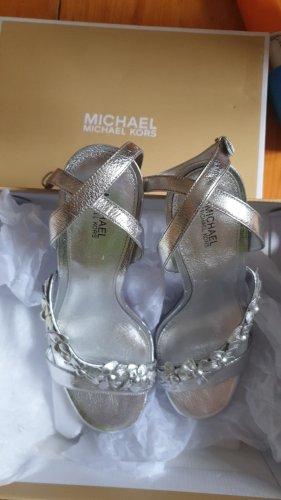 Michael Kors Schuhe Sommer Damen Leder Sandaletten in Silber Gr. 38