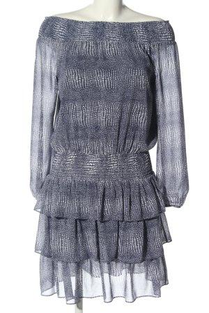 Michael Kors schulterfreies Kleid blau-weiß Allover-Druck Casual-Look