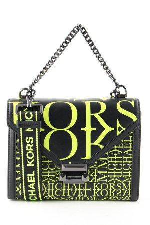 Michael Kors Sac porté épaule noir-vert lettrage imprimé style d'affaires