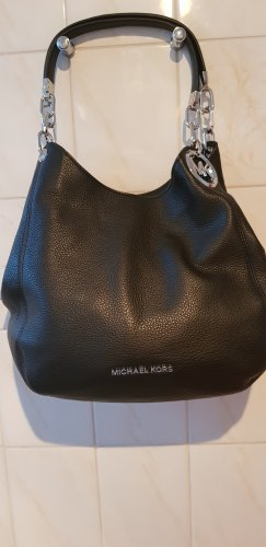 Michael Kors Schultertasche Lillie Large aus gekriespeltem Leder in schwarz