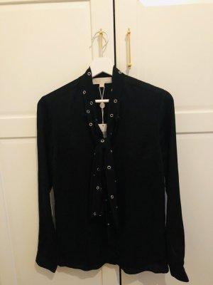 Michael Kors Blusa collo a cravatta nero Seta