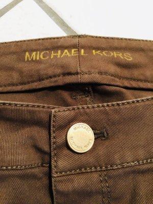 Michael Kors Skinny Jeans Khaki US2 XS 34 36 Goldene Reißverschlüsse