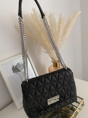 Michael Kors Handbag black-silver-colored leather